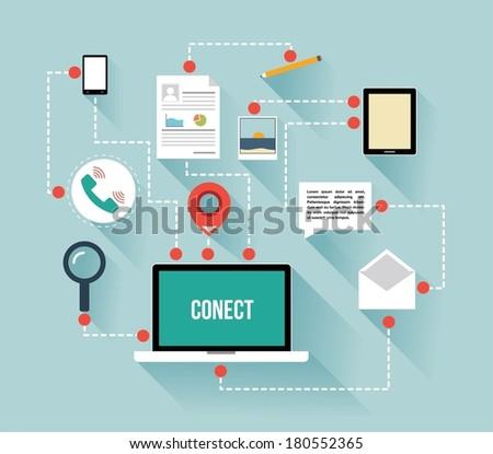 Flat design vector illustration , communication concept - stock vector