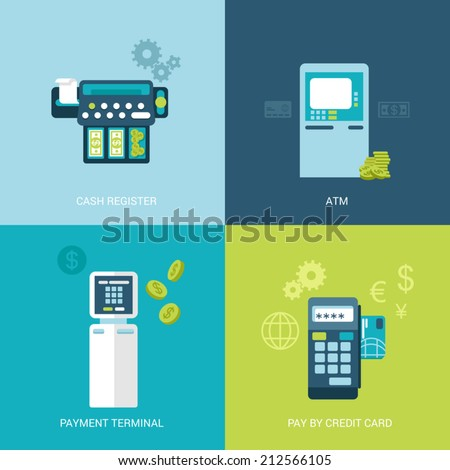 Flat design vector illustration concept bank finance electronic devices. Cash register, ATM, payment terminal, mobile payout. Big flat objects icons collection. - stock vector