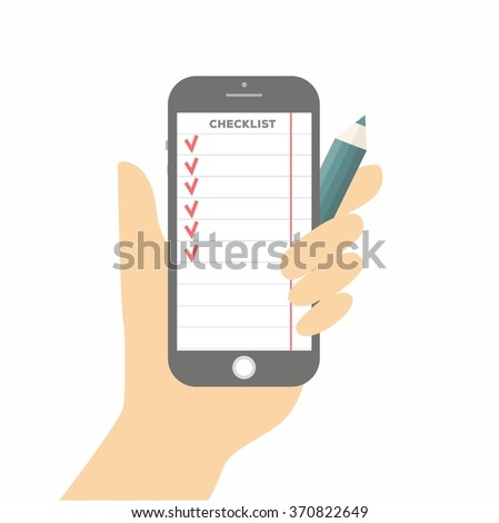 Flat design vector illustration concept for checklist, app interface design with icons on mobile display in hand, on white background