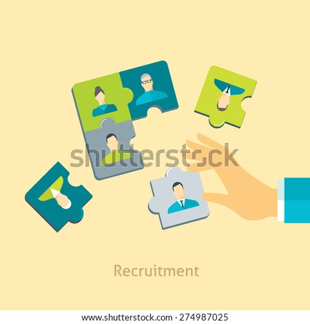 Flat design vector illustration concept for recruitment, human resource management, searching and selecting employees isolated on stylish background  - stock vector