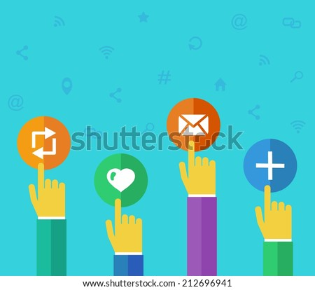 Flat design vector illustration concept for social media - stock vector