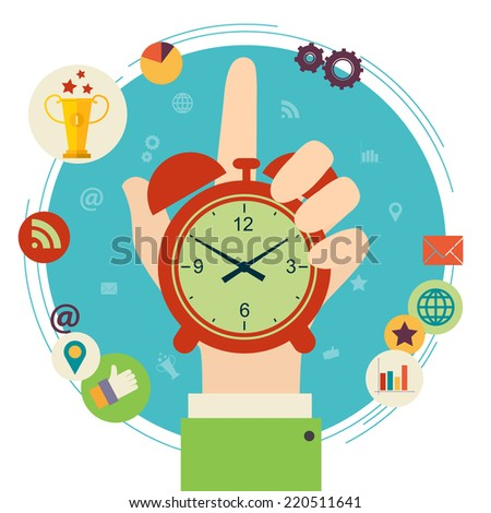 Flat design vector illustration concept for time management. Hand hold clock. - stock vector