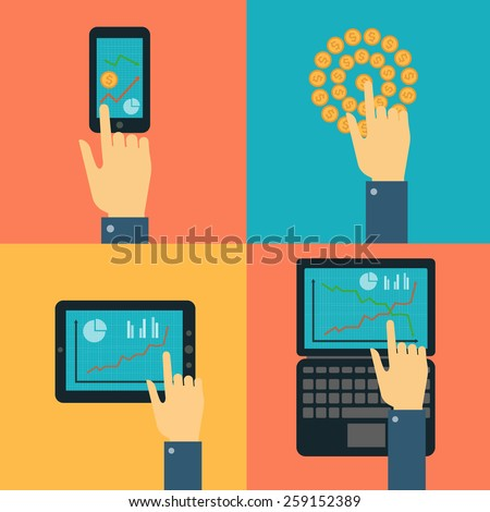 Flat design vector illustration concept. Hand pointing to the curve of the financial market and exchange rate on the tablet, laptop and mobile phone - stock vector
