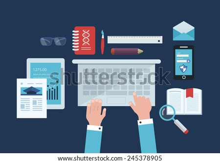 Flat design vector illustration concept icons set of business workflow and elements, electronic devices, business consulting and online education - stock vector
