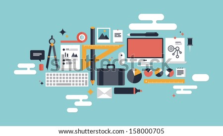 Flat design vector illustration concept icons set of business working elements for development and management of computer technologies. Isolated on stylish color background. - stock vector