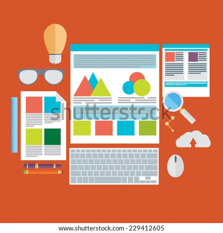 Flat design vector illustration concept icons set of modern programmer workflow for web coding and html programming user interface elements. - stock vector