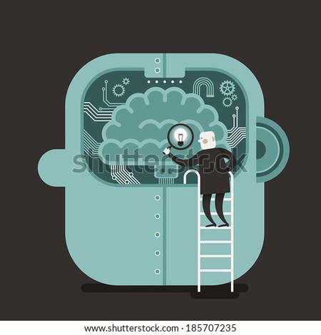 flat design vector illustration concept of brain searching - stock vector