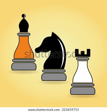 Flat design vector illustration. Concept of business strategy with chess figures on a yellow background.