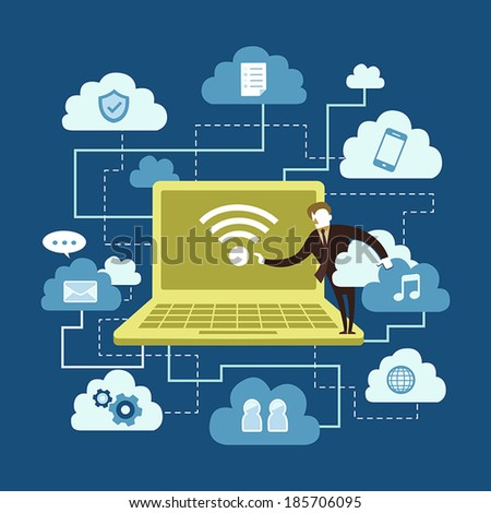 flat design vector illustration concept of cloud computing - stock vector