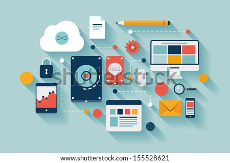 Flat design vector illustration concept of computer and connected mobile devices with links of transmission information on various data storage and cloud computing service on stylish background.  - stock vector
