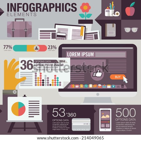 Flat design vector illustration concept of computer and working place. Infographics elements - stock vector