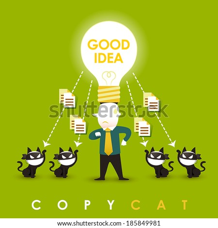 flat design vector illustration concept of copycat - stock vector