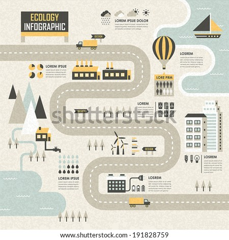 flat design vector illustration concept of ecology - stock vector