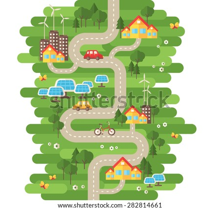 Flat Design Vector Illustration Concept of Ecology. Landscape with Buildings, Electric Cars and Nature Ecology Elements, Solar Panels, Wind Turbines. Eco City Map. Go Green. Save the Earth. Earth Day. - stock vector