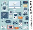 Flat design vector illustration concept of game environment, tools and essentials. Various devices. Collection in stylish trendy colors of virtual computer game items and elements. - stock vector
