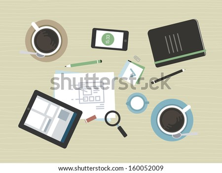 Flat design vector illustration concept of modern business meeting coffee break with digital tablet, smartphone, papers and various office objects. Isolated on beige desk table texture background. - stock vector