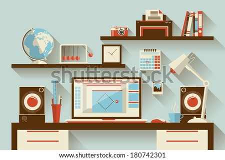 Flat design vector illustration concept of modern creative office workplace with computer. The office of a creative worker. Flat minimalistic style and color with long shadows. - stock vector