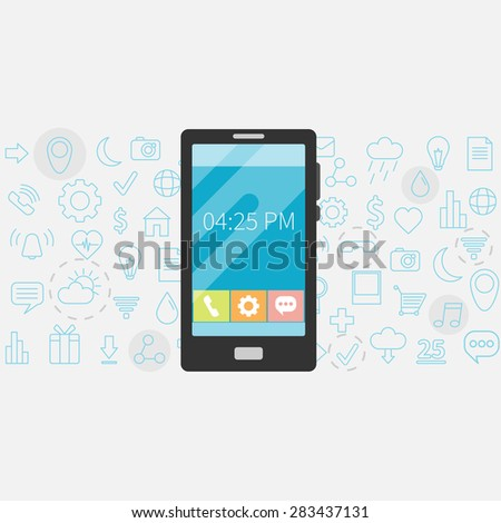 Flat design vector illustration concept of  smartphone gadget. Modern background with new technology electronic device with apps icons
