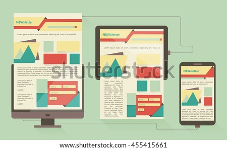 Flat design vector illustration concept of website page layout on different devices. Vector illustration. - stock vector