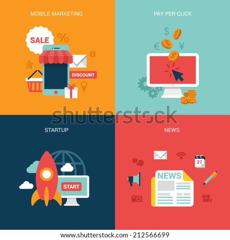 Flat design vector illustration concept process icons set of modern mobile marketing pay per click startup business news. Big flat processes collection. - stock vector