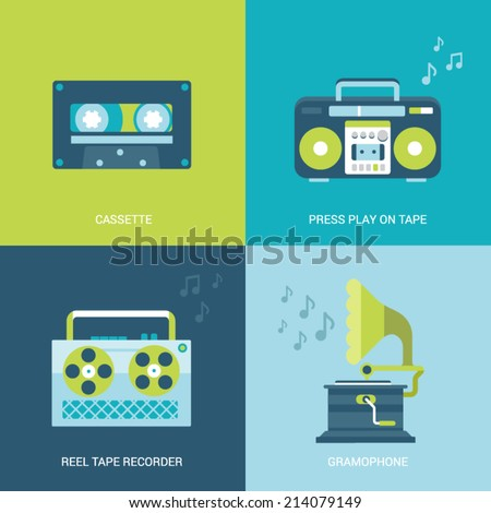 Flat design vector illustration concept retro vintage set of electronics and entertainment. Casette, press play on tape, reel tape recorder, gramophone. Big flat processes collection. - stock vector