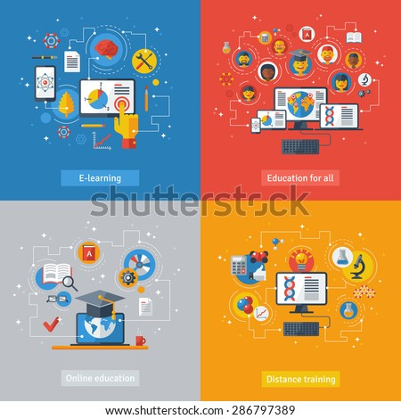 Flat design vector illustration concepts of education and online learning. Online training courses, distance training, e-learning. Concepts with laptop, computer, phone, book, graduation hat. - stock vector