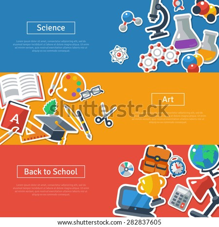 Flat design vector illustration concepts of education. Horizontal banners with school stickers. Science, Art and Back to school. Concepts for web banners and promotional materials. - stock vector