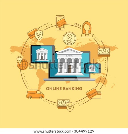 Flat design vector illustration concepts of online banking. Icons for internet payment. - stock vector