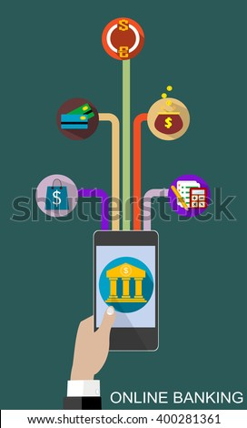 Flat design vector illustration concepts of online banking service. Icons for online payment gateway, mobile payments, electronic funds transfers and bank wire transfer. - stock vector