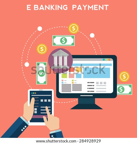 Flat design vector illustration concepts of online payment methods. Icons for online getaway, mobile payments, electronic funds transfers and bank wire transfer. - stock vector
