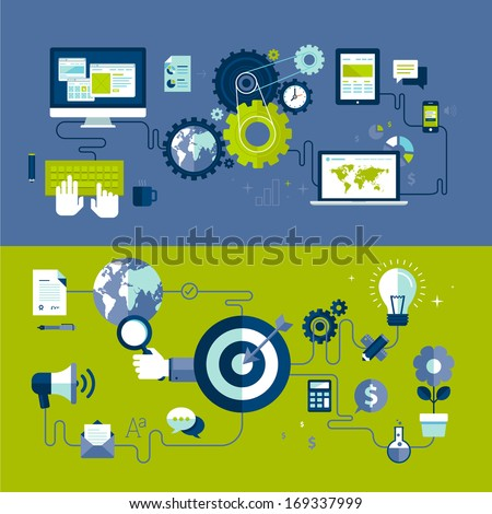 Flat design vector illustration concepts of responsive web design and internet advertising working process, isolated on stylish background.  - stock vector