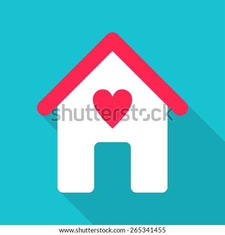 Flat Design Vector Illustration. House Icon with Red Heart - stock vector