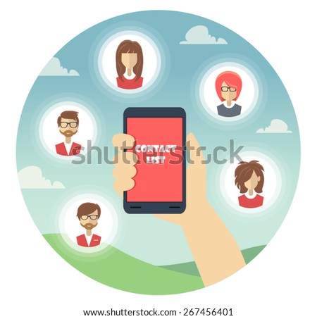 Flat design vector illustration. Human hand with mobile phone and people icons - stock vector