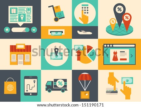 Flat design vector illustration icons of e-commerce symbols, internet shopping elements and online banking objects in retro stylish color. Isolated on colored background - stock vector