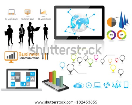 Flat design vector illustration Infographics business communication. - stock vector