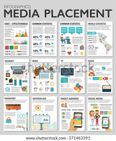 Flat design vector illustration infographics concept process icons set of modern webdesign, media placement, smm. New trend social media and online promotion search engine optimization. - stock vector