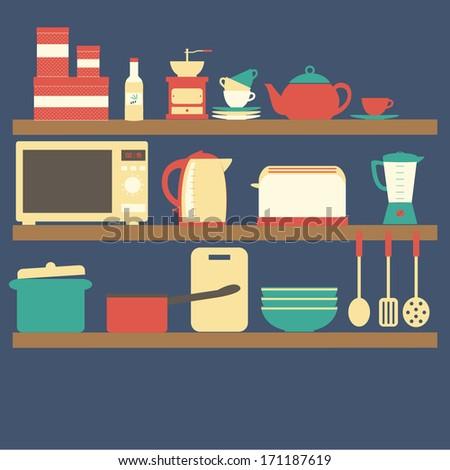 Flat design vector illustration Kitchen utensils on shelves - stock vector