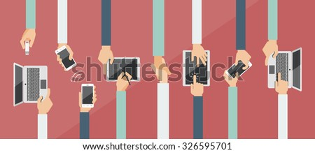 Flat design vector illustration of hands holding and using computer and communication devices. Business meeting - stock vector
