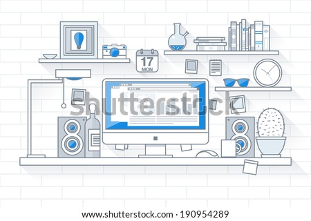 Flat design vector illustration of modern creative office workspace with computer. The office of a creative worker. Flat minimalistic style and color with long shadows. Stroke, thin line, outline. - stock vector