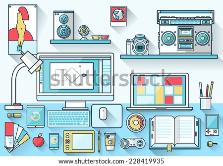 Flat design vector illustration of modern creative office workspace,workplace of designer. The office of a creative worker. Flat minimalistic style and color with long shadows. Stroke outline effect - stock vector