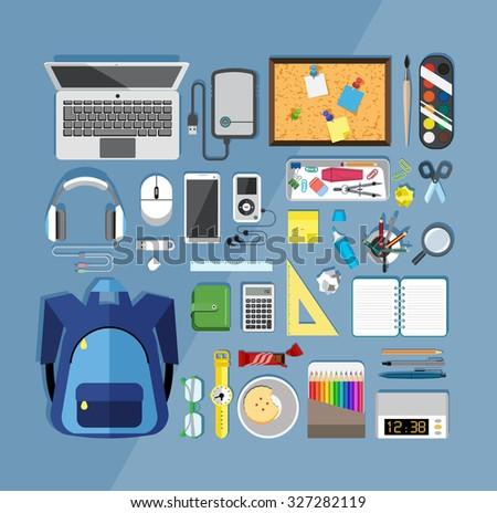 Flat design vector illustration of modern items for school  - stock vector