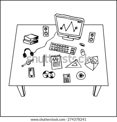 Flat design vector illustration of modern workspace, computer desk, freehand pencil - stock vector