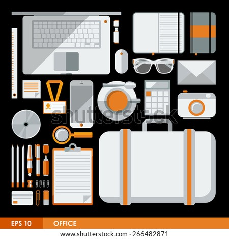 Flat design vector illustration of office icons and elements in minimalistic style and color. Concept of office workspace. Elements for mobile and web applications - stock vector