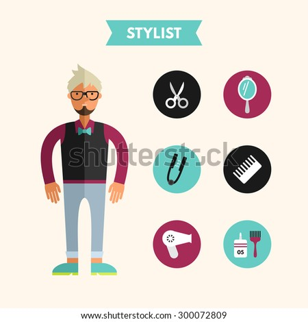 Flat Design Vector Illustration of Stylist with Icon Set. Infographic Design Elements - stock vector
