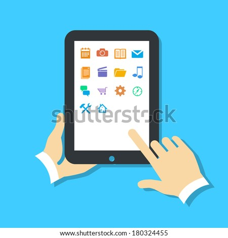 Flat design vector illustration of tablet using with one hand holding and touching icons on screen with finger. Infographic isolated on blue background - stock vector