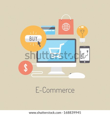 Flat design vector illustration poster concept with icons of buying product via online shop and e-commerce ideas symbol and shopping elements. Isolated on stylish colored background - stock vector