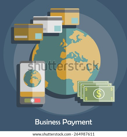 Flat design vector illustration poster concept with set of online banking web interface, financial service with credit card. Isolated on stylish colored background. - stock vector