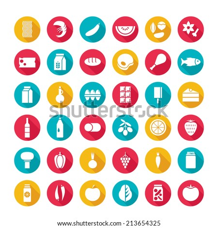 Flat design vector illustration set of round icons with long shadow effect of food and drinks, vegetables, fruits, seafood, isolated on white. For retail store, food production, farm business