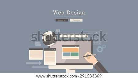 Flat design vector illustration web design concept design, Abstract urban modern&classic style, high quality business series. - stock vector