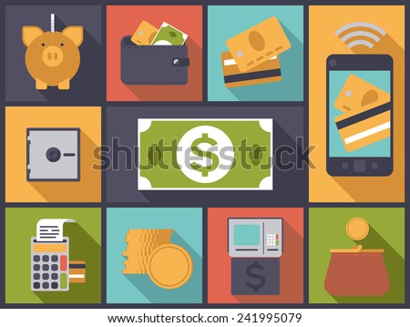Flat design vector illustration with various money and personal finance icons - stock vector